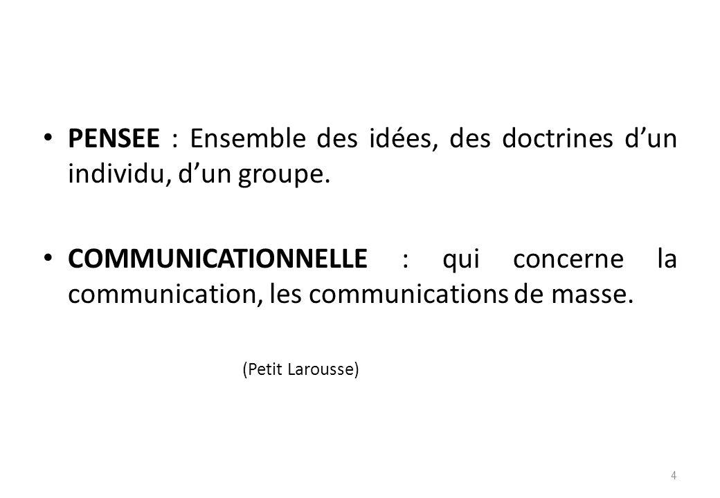 PENSEE : Ensemble des idées, des doctrines d'un individu, d'un groupe.