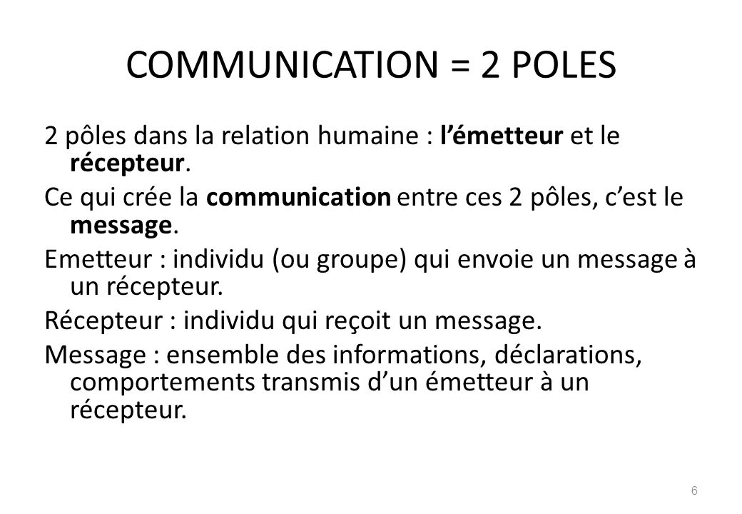 COMMUNICATION = 2 POLES