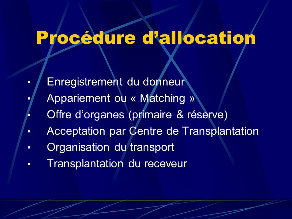 Procédure d'allocation