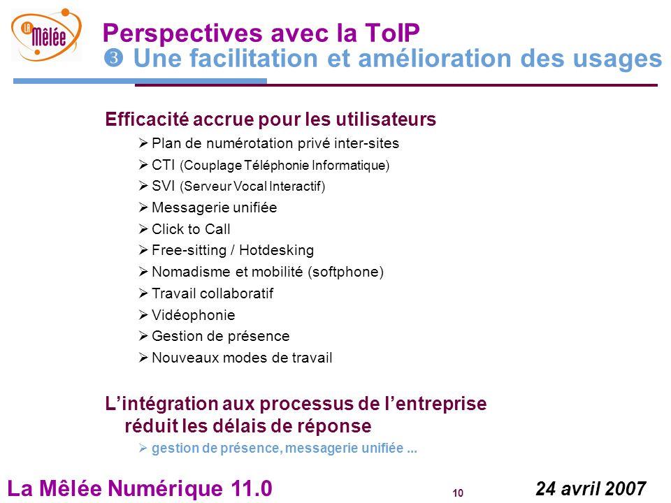 Perspectives avec la ToIP  Une facilitation et amélioration des usages
