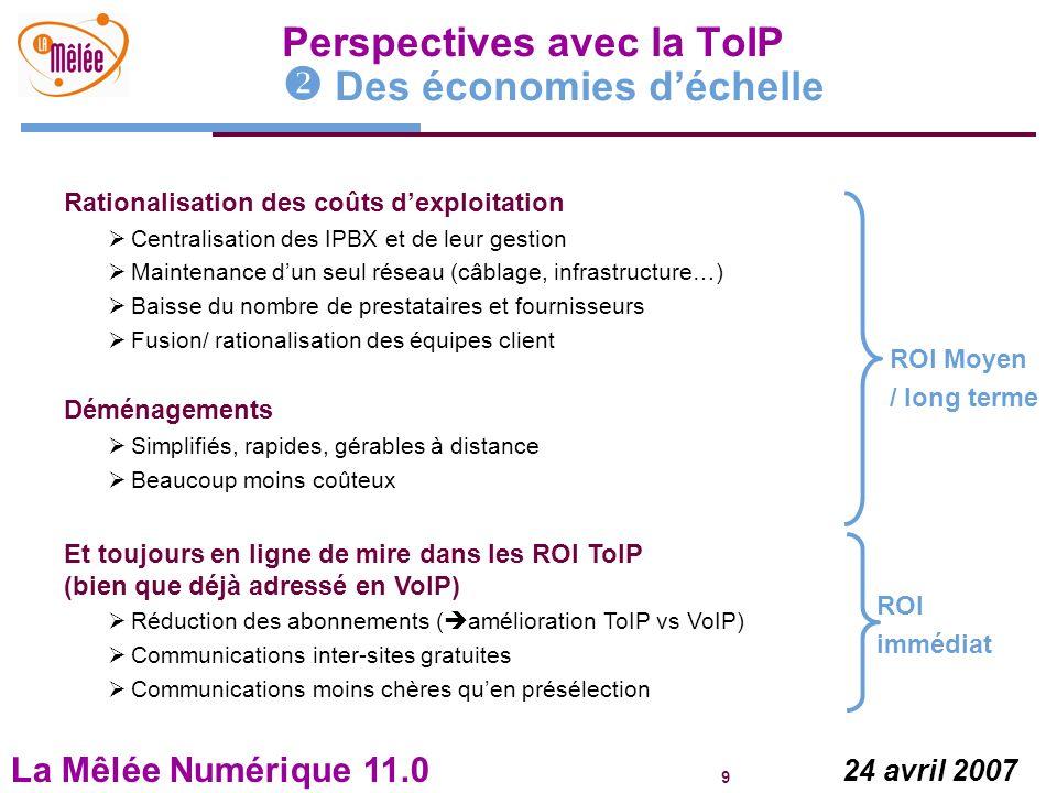 Perspectives avec la ToIP  Des économies d'échelle