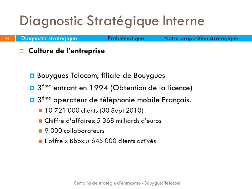 Diagnostic Stratégique Interne