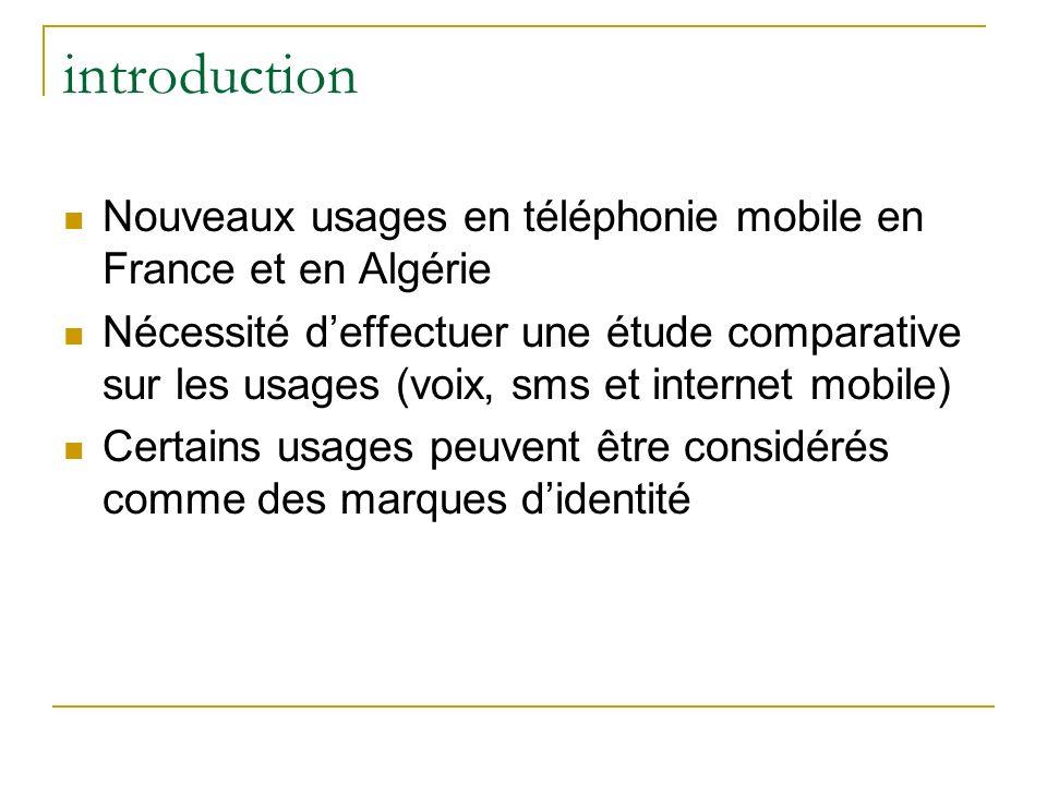 introduction Nouveaux usages en téléphonie mobile en France et en Algérie.