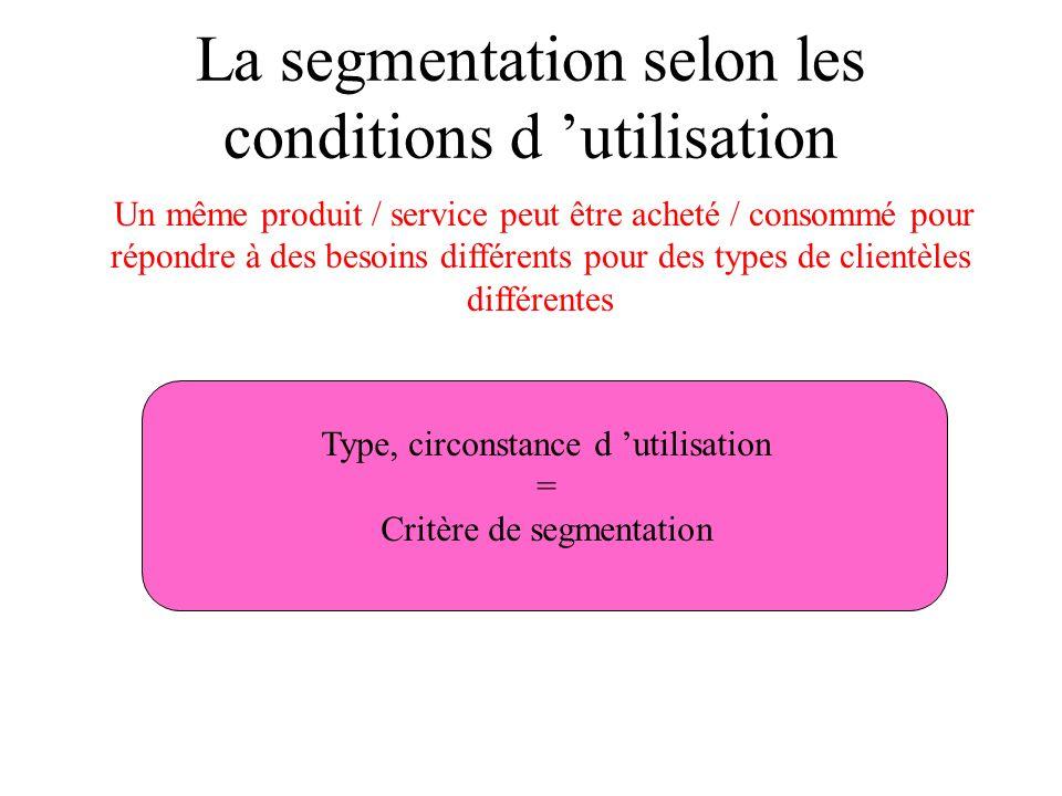 La segmentation selon les conditions d 'utilisation