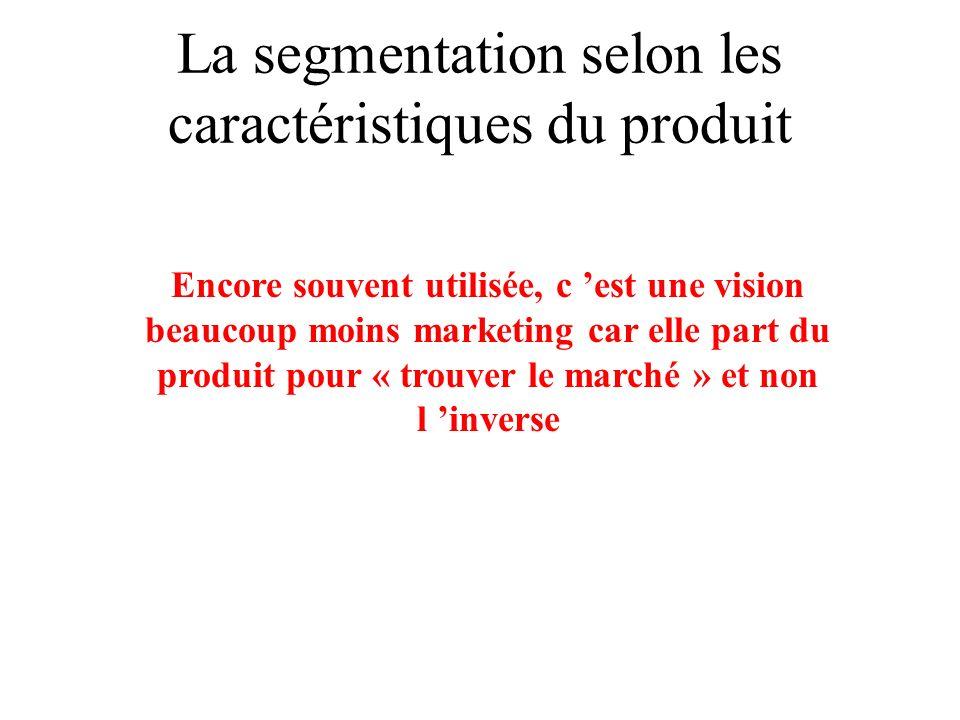 La segmentation selon les caractéristiques du produit