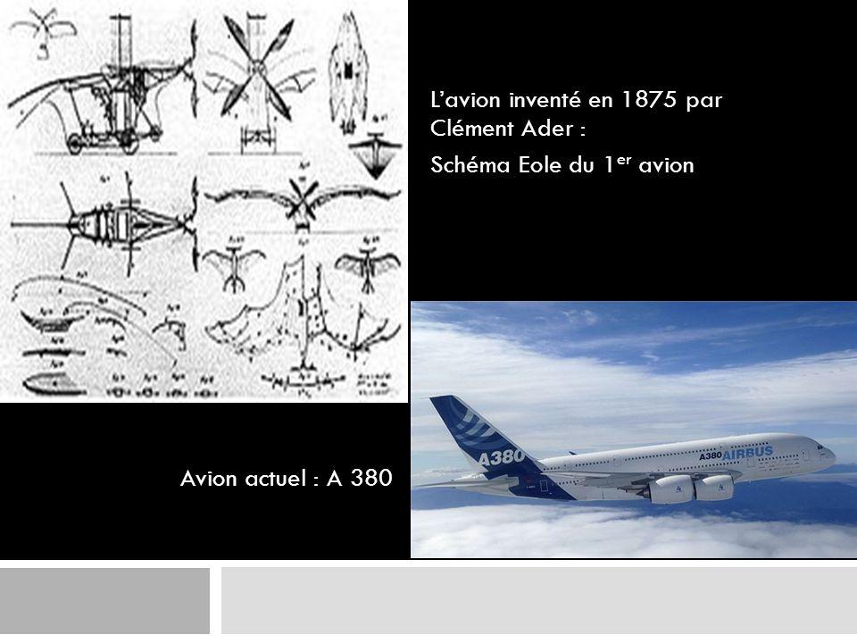 L'avion inventé en 1875 par Clément Ader : Schéma Eole du 1er avion