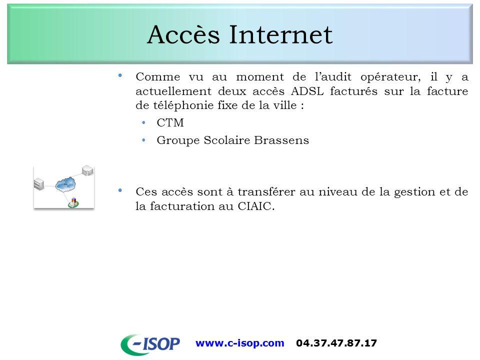 Accès Internet Comme vu au moment de l'audit opérateur, il y a actuellement deux accès ADSL facturés sur la facture de téléphonie fixe de la ville :