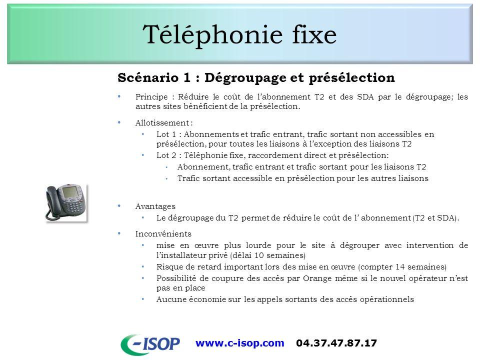 Téléphonie fixe Scénario 1 : Dégroupage et présélection