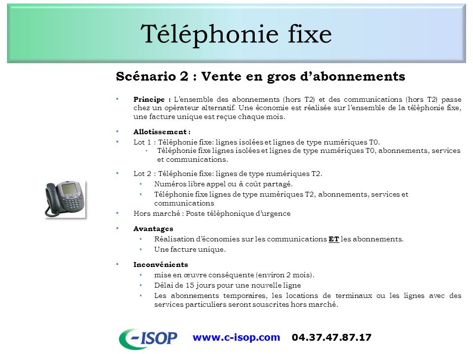 Téléphonie fixe Scénario 2 : Vente en gros d'abonnements