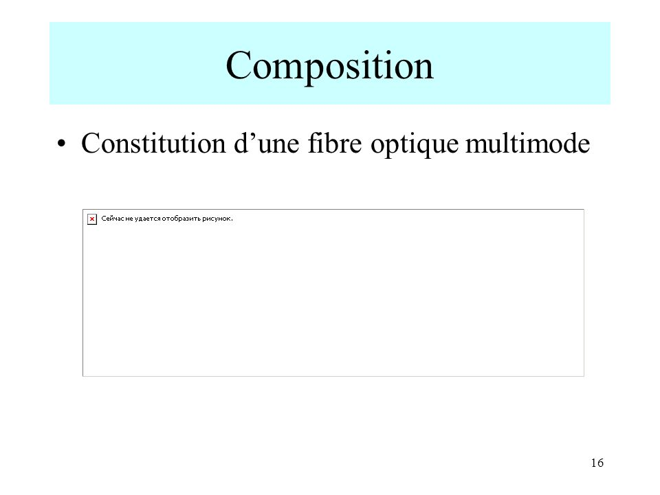 Composition Constitution d'une fibre optique multimode