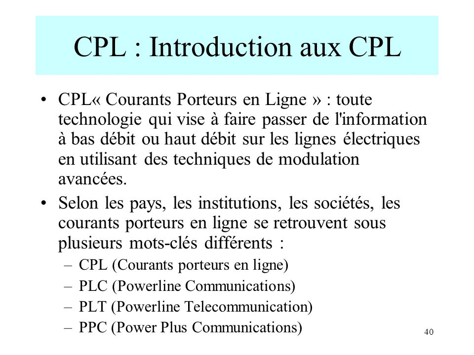 CPL : Introduction aux CPL