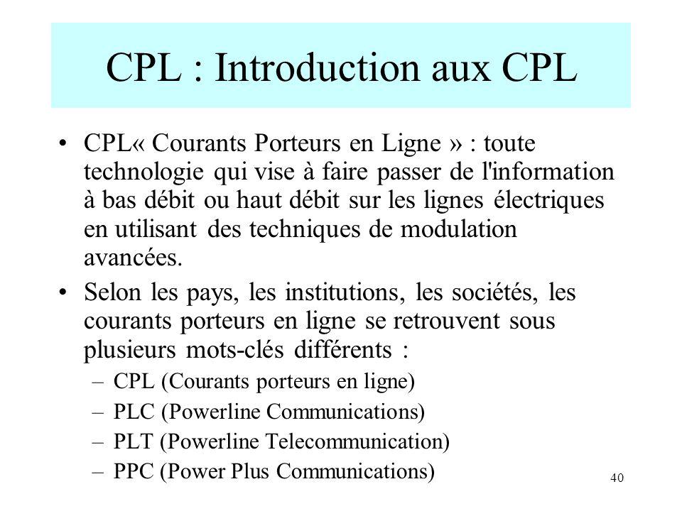 CPL : Introduction aux CPL