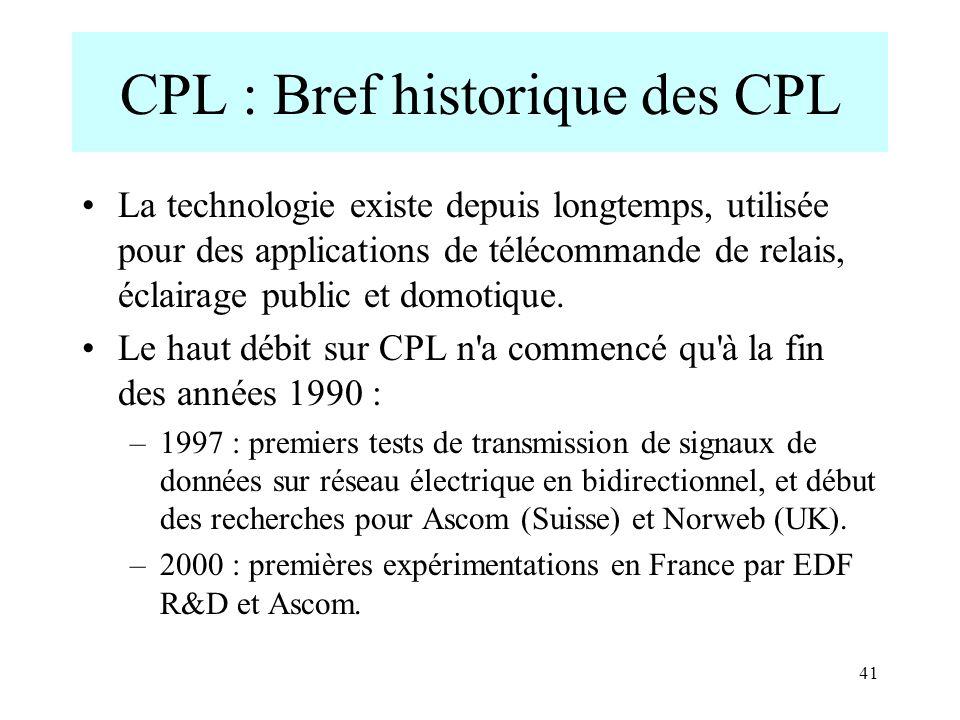 CPL : Bref historique des CPL