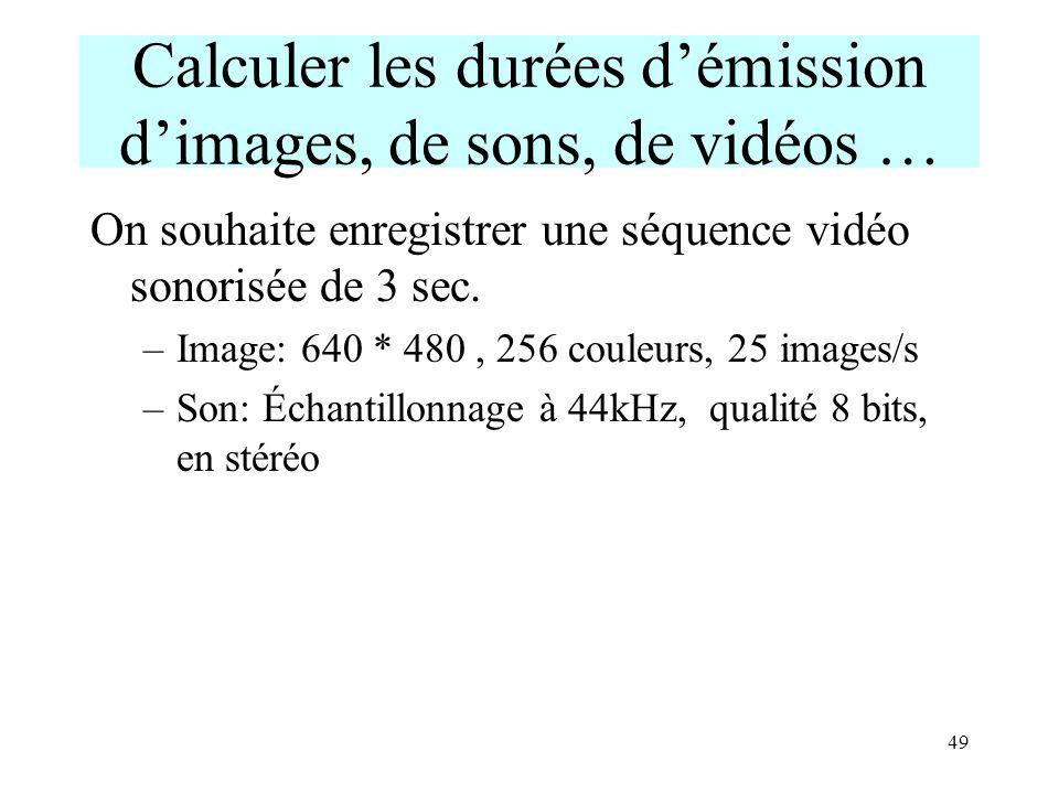 Calculer les durées d'émission d'images, de sons, de vidéos …