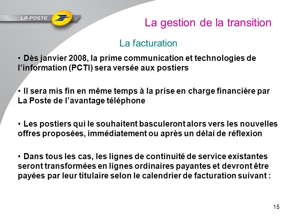 La gestion de la transition