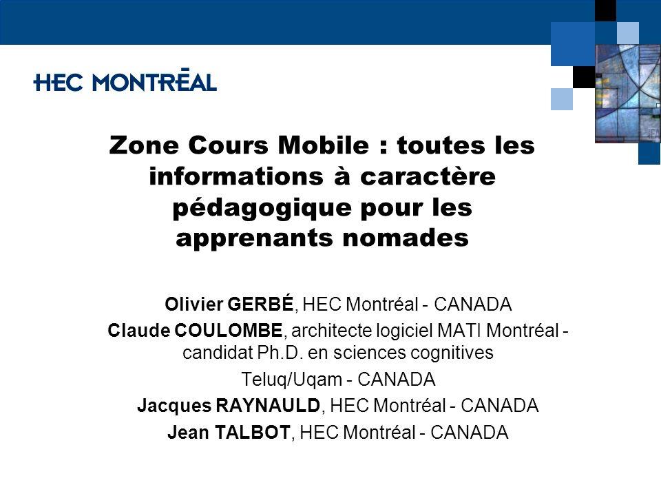 Zone Cours Mobile : toutes les informations à caractère pédagogique pour les apprenants nomades