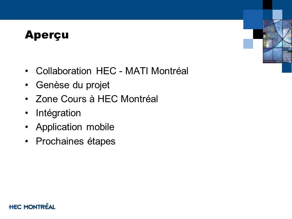 Aperçu Collaboration HEC - MATI Montréal Genèse du projet
