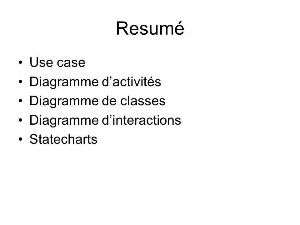 Resumé Use case Diagramme d'activités Diagramme de classes