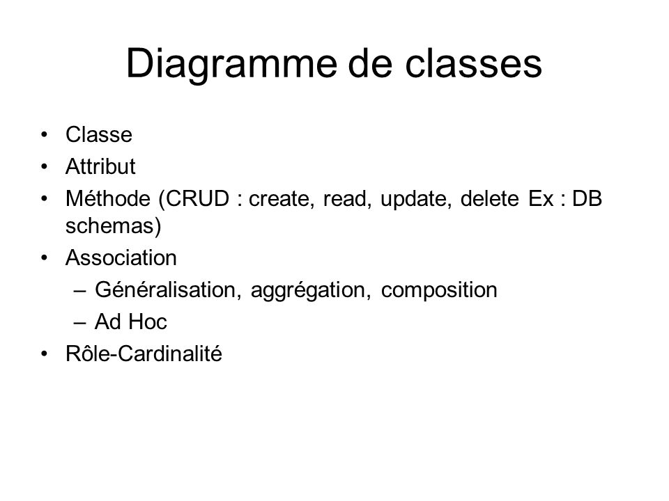 Diagramme de classes Classe Attribut