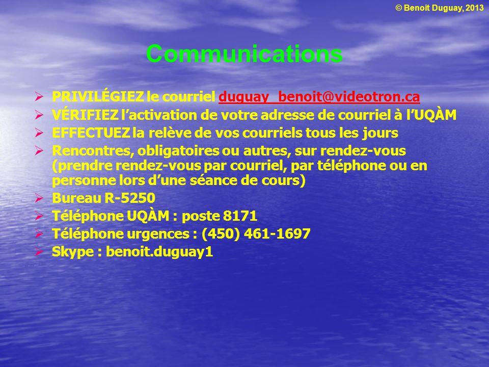 Communications PRIVILÉGIEZ le courriel duguay_benoit@videotron.ca