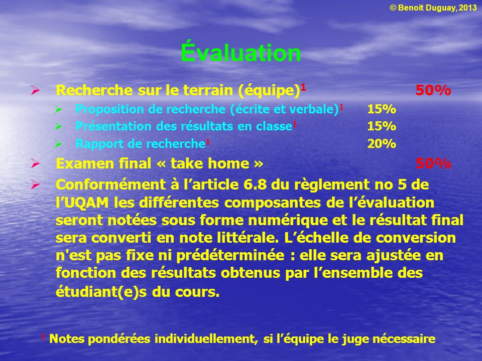 Évaluation Recherche sur le terrain (équipe)1 50%