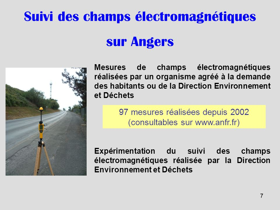 Suivi des champs électromagnétiques sur Angers