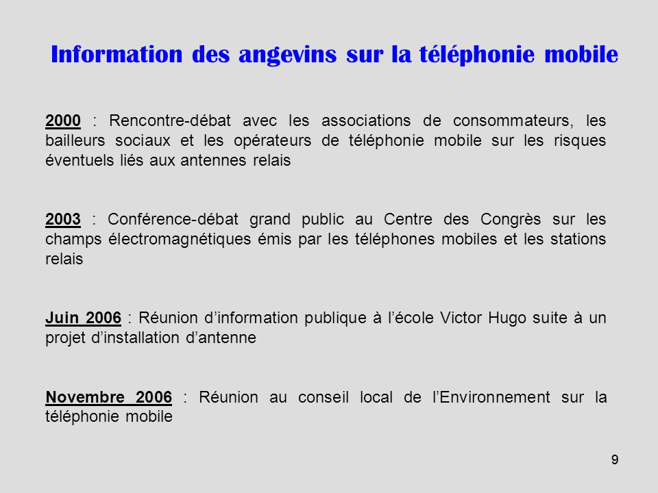 Information des angevins sur la téléphonie mobile
