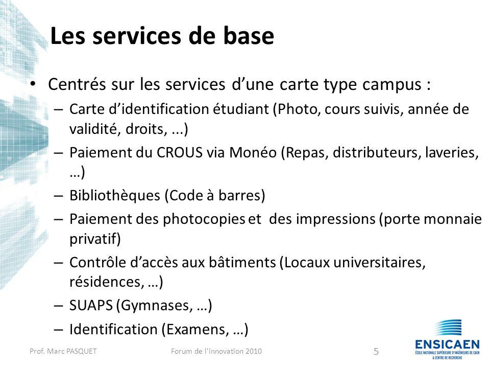 Les services de base Centrés sur les services d'une carte type campus :