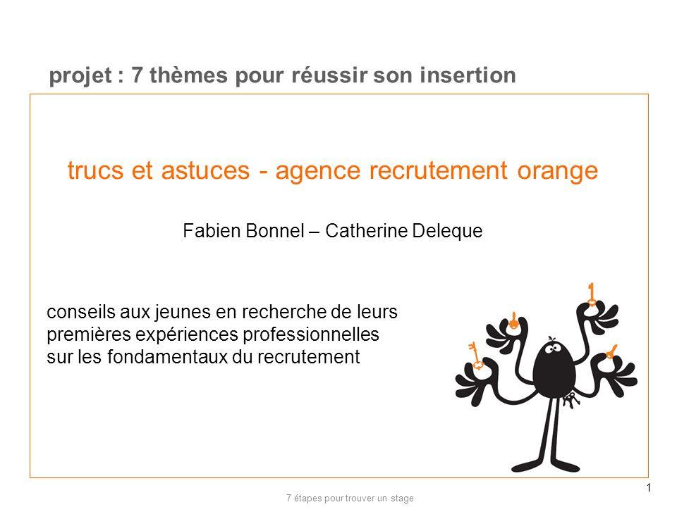 20/02/12 projet : 7 thèmes pour réussir son insertion. trucs et astuces - agence recrutement orange Fabien Bonnel – Catherine Deleque.