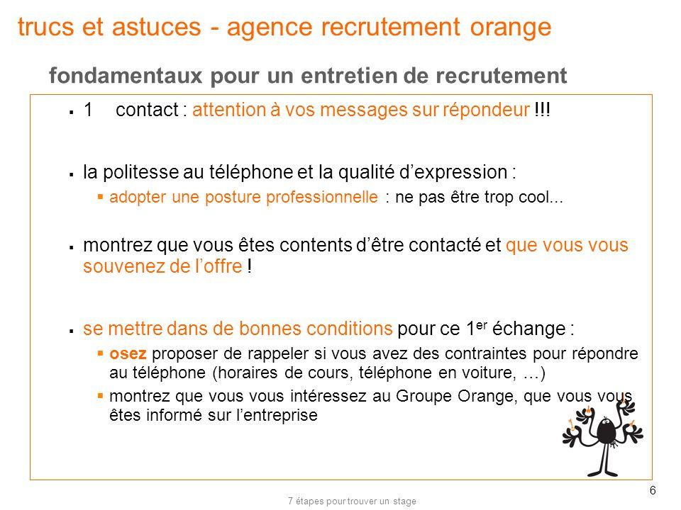 trucs et astuces - agence recrutement orange