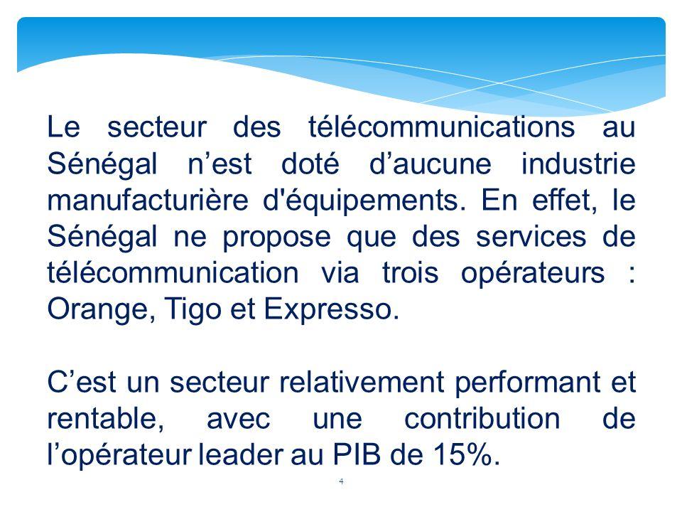 Le secteur des télécommunications au Sénégal n'est doté d'aucune industrie manufacturière d équipements. En effet, le Sénégal ne propose que des services de télécommunication via trois opérateurs : Orange, Tigo et Expresso.