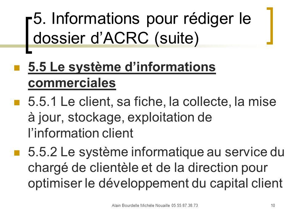 5. Informations pour rédiger le dossier d'ACRC (suite)