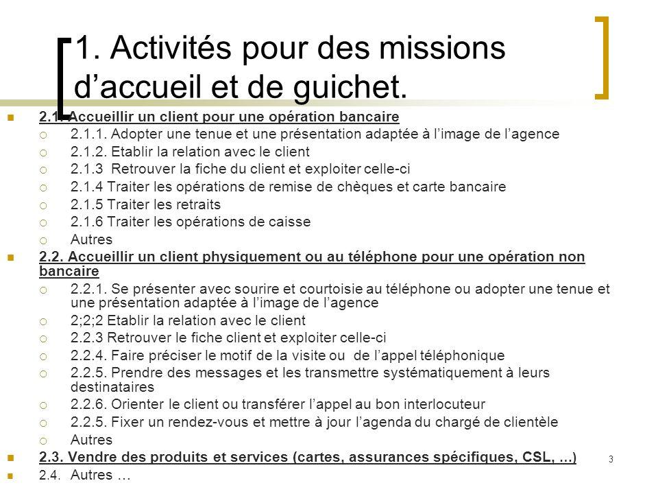 1. Activités pour des missions d'accueil et de guichet.