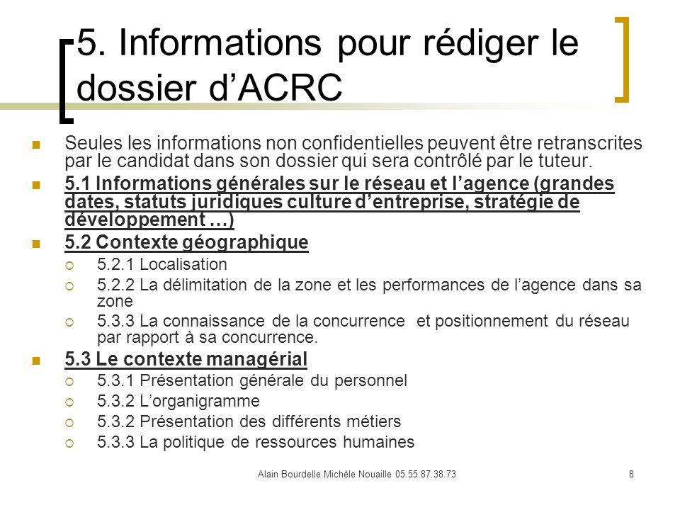 5. Informations pour rédiger le dossier d'ACRC