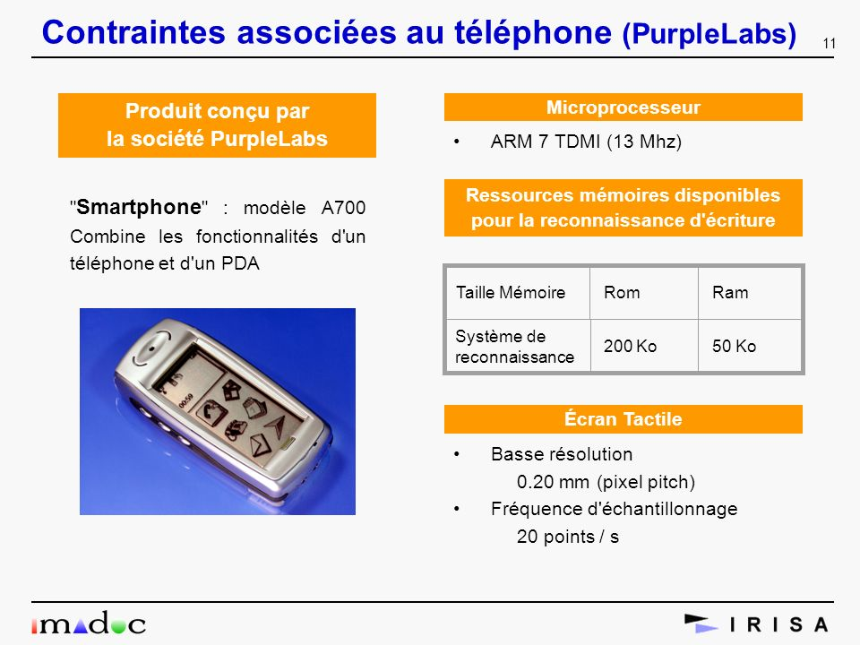 Contraintes associées au téléphone (PurpleLabs)