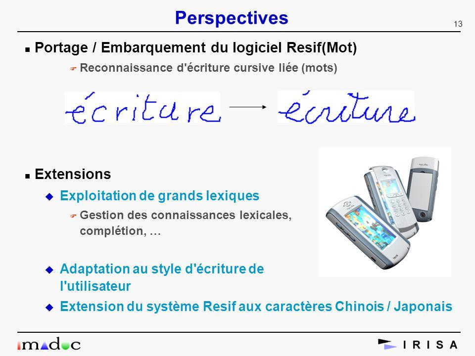 Perspectives Portage / Embarquement du logiciel Resif(Mot) Extensions
