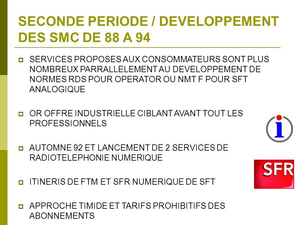 SECONDE PERIODE / DEVELOPPEMENT DES SMC DE 88 A 94