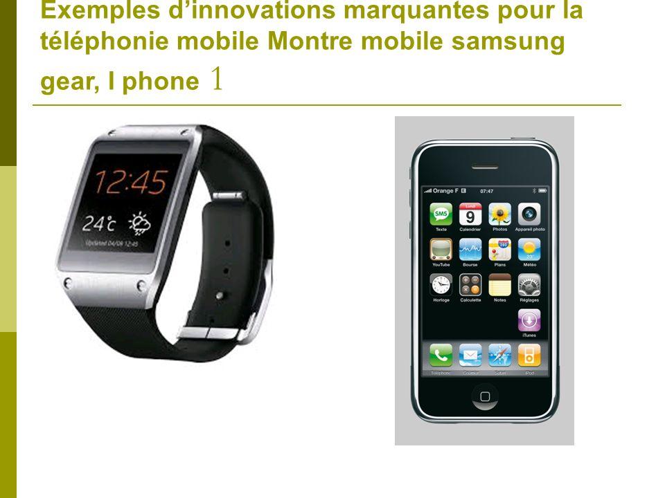 Exemples d'innovations marquantes pour la téléphonie mobile Montre mobile samsung gear, I phone 1