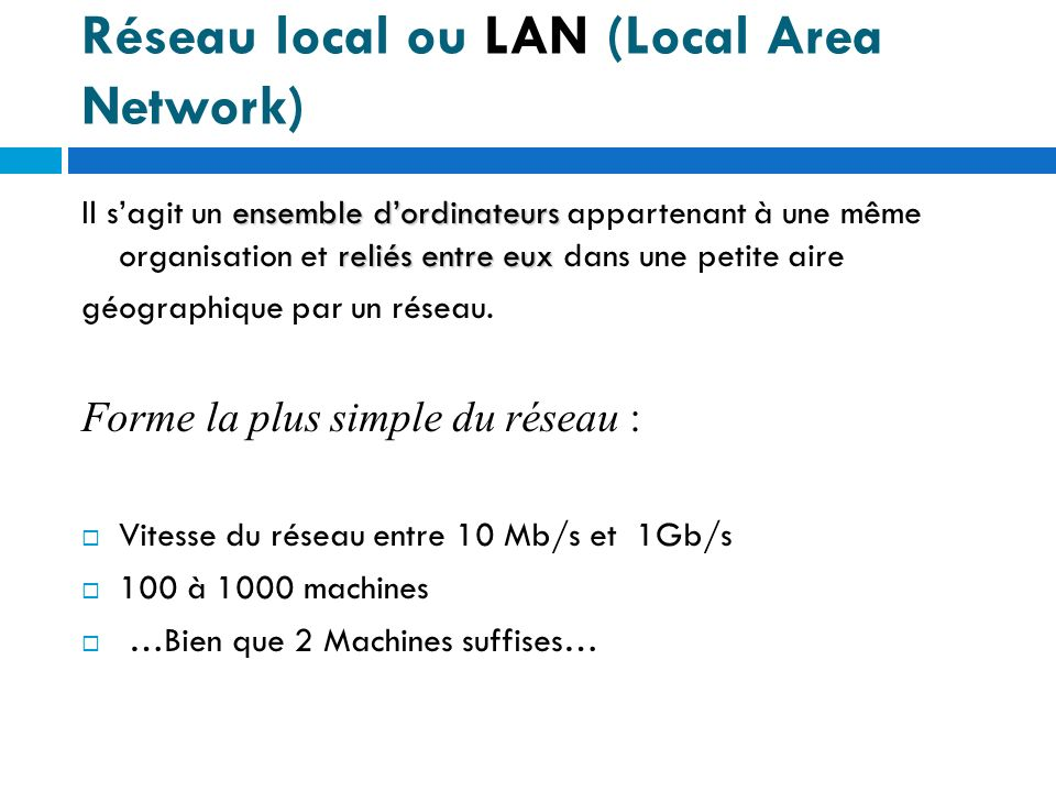 Réseau local ou LAN (Local Area Network)