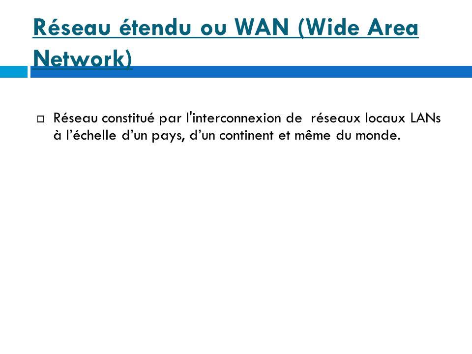 Réseau étendu ou WAN (Wide Area Network)