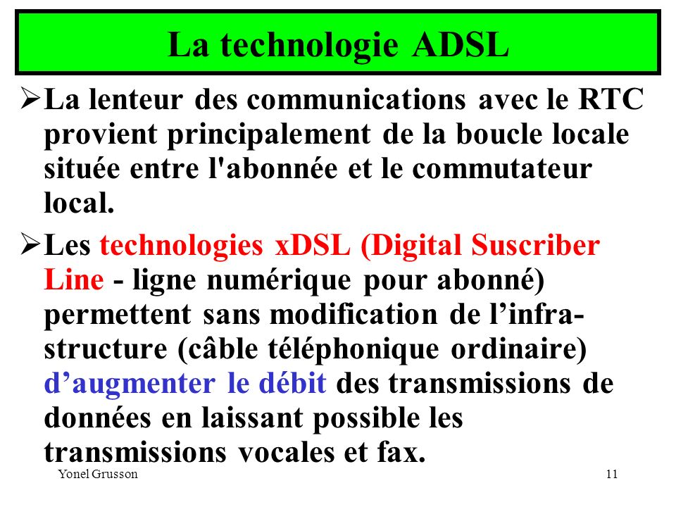 La technologie ADSL
