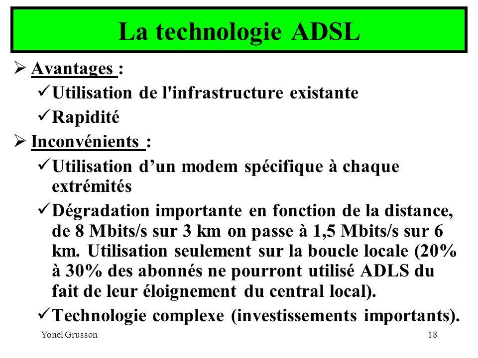 La technologie ADSL Avantages :