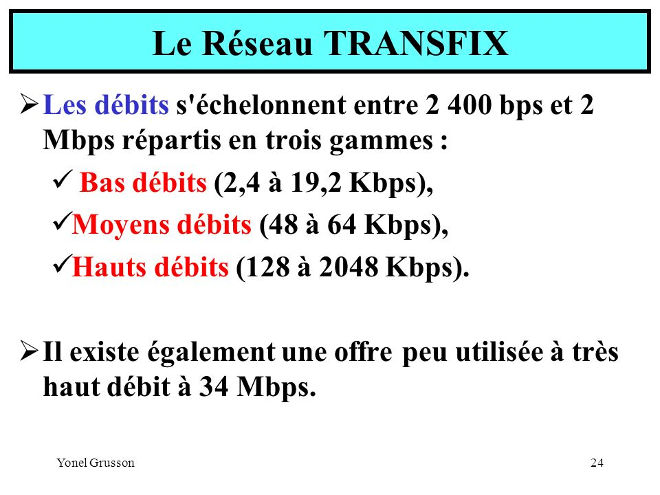 Le Réseau TRANSFIX Les débits s échelonnent entre 2 400 bps et 2 Mbps répartis en trois gammes : Bas débits (2,4 à 19,2 Kbps),