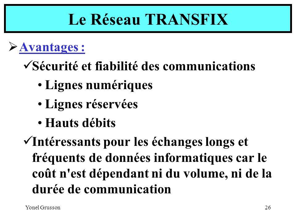 Le Réseau TRANSFIX Avantages :