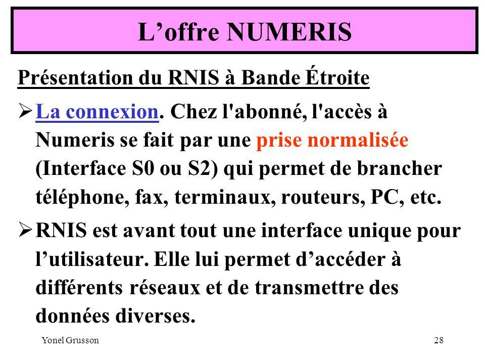 L'offre NUMERIS Présentation du RNIS à Bande Étroite