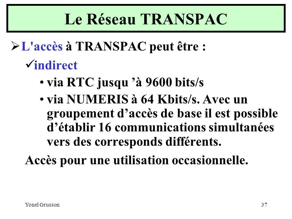 Le Réseau TRANSPAC L accès à TRANSPAC peut être : indirect