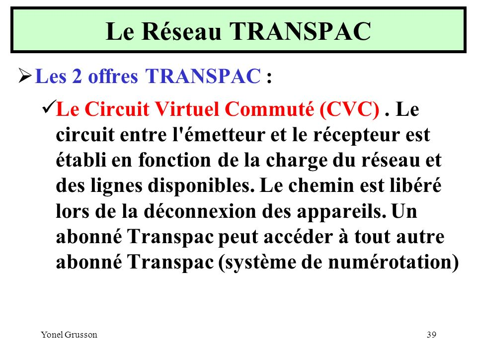 Le Réseau TRANSPAC Les 2 offres TRANSPAC :