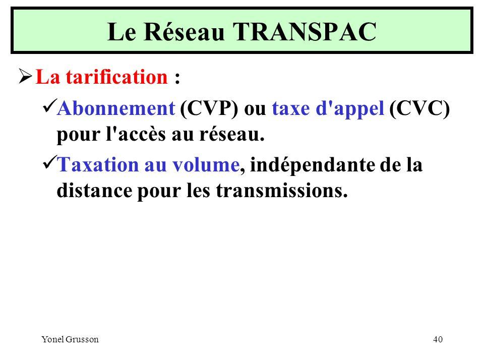 Le Réseau TRANSPAC La tarification :