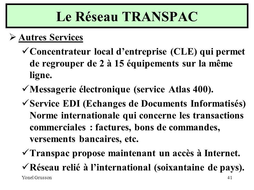 Le Réseau TRANSPAC Autres Services
