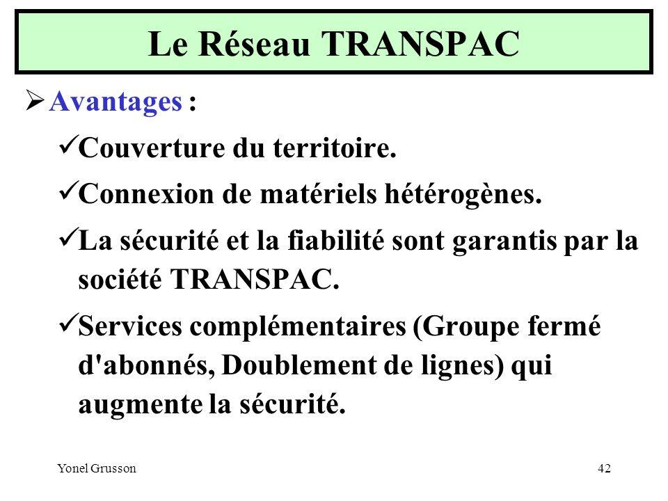 Le Réseau TRANSPAC Avantages : Couverture du territoire.
